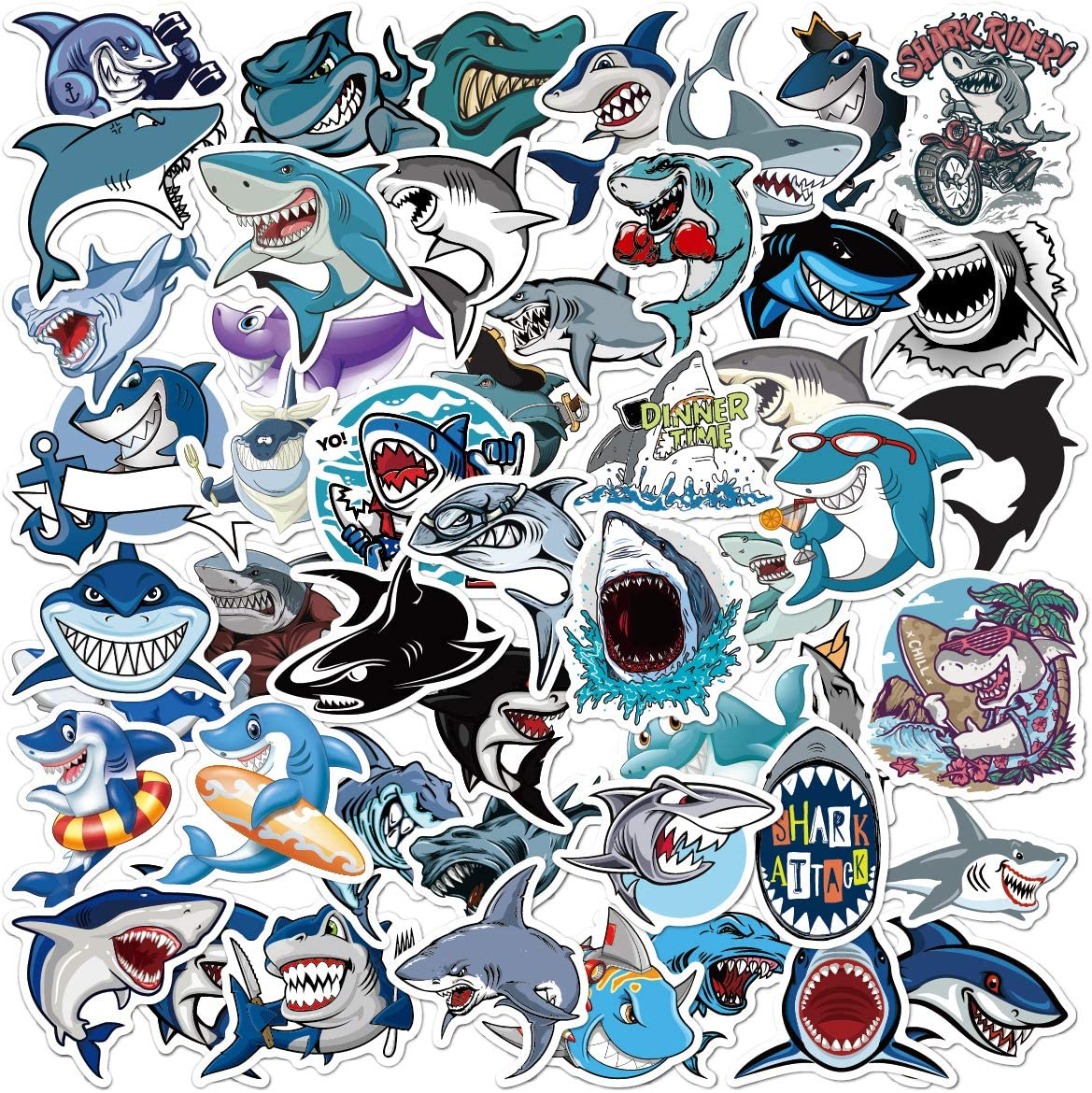 50 Pcs Shark Stickers Shark Decals for Water Bottle Hydro Flask Laptop Luggage Car Bike Bicycle Waterproof Vinyl Stickers Pack