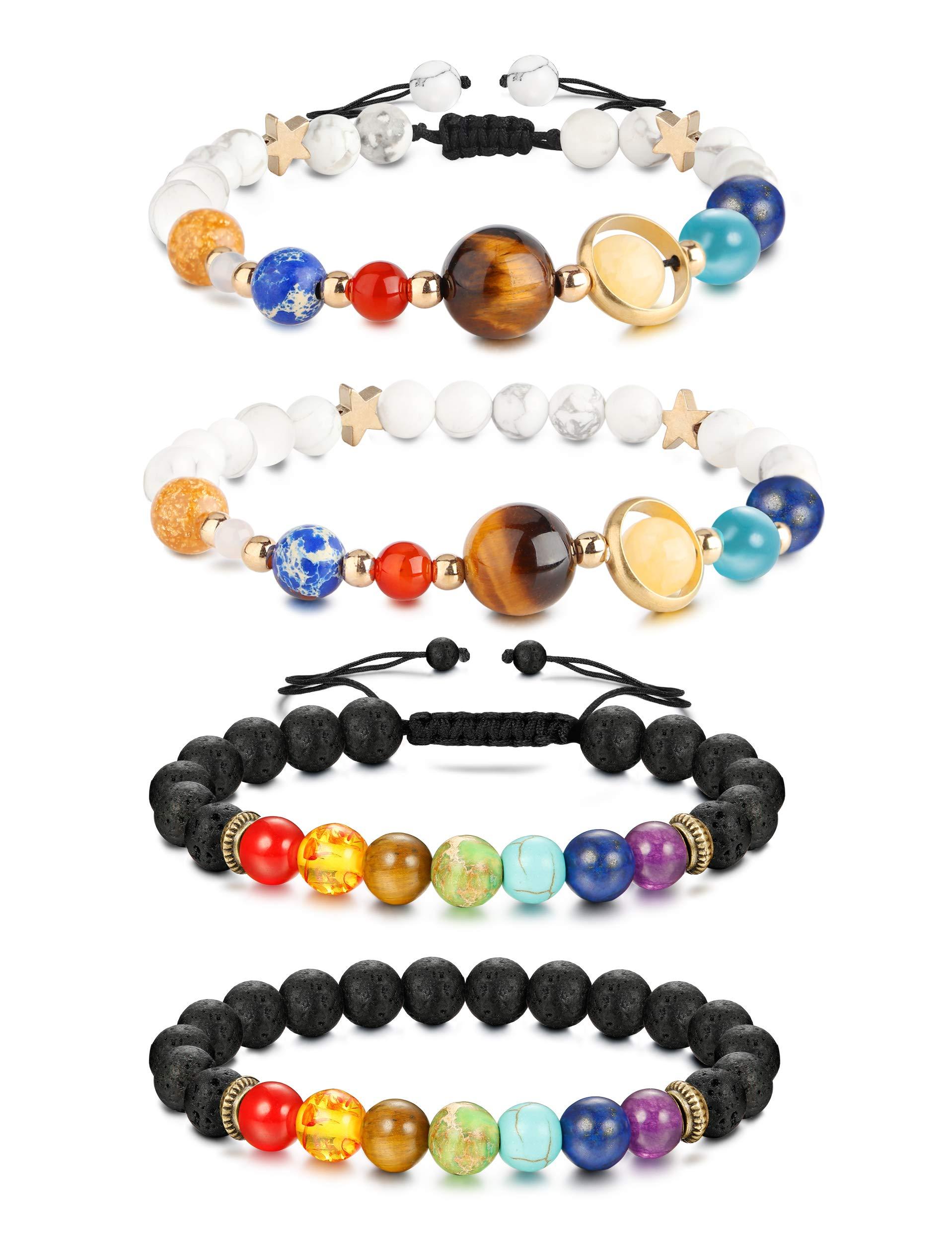Finrezio 4 Pcs Bead Bracelets Women Men Solar System & Chakra Stone Diffuser Bracelets Set Aromatherapy Yoga Bracelet 8MM Beaded (B:4Pcs Bracelets)
