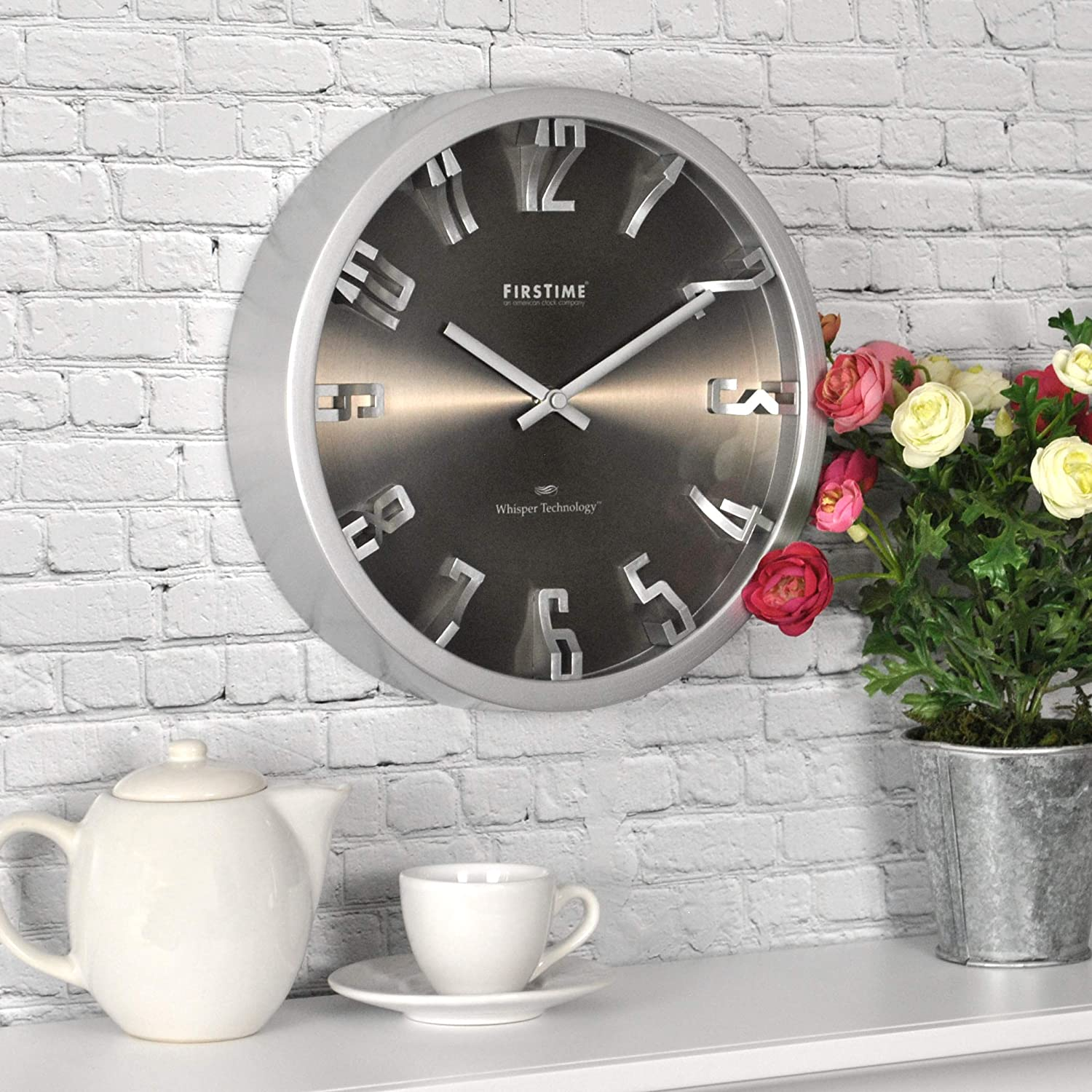 FirsTime & Co. Steel Dimension Wall Clock, American Crafted, Silver, 10 x 2 x 10,