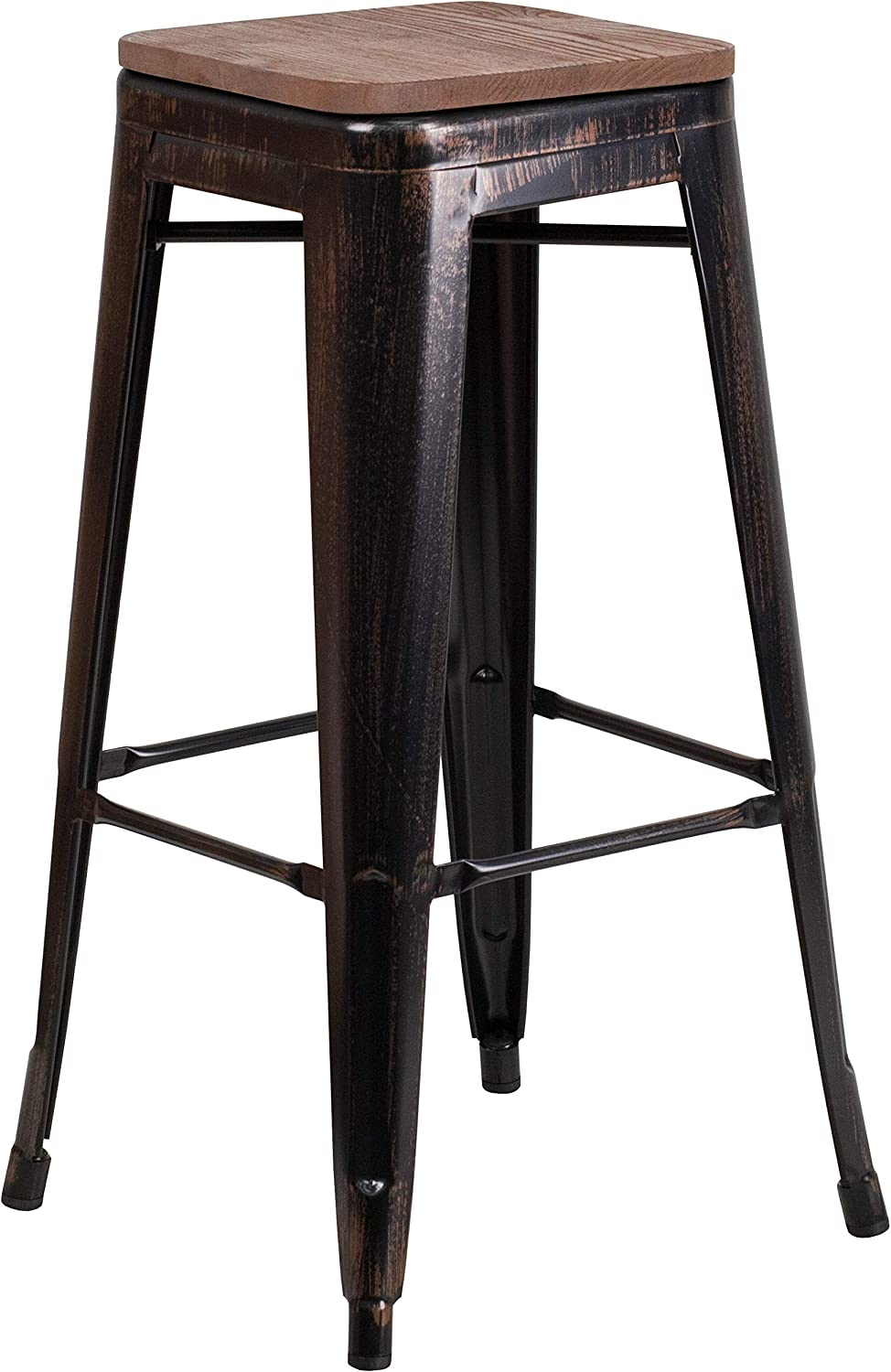 Taylor + Logan 30 Inch High Backless Metal Barstool with Square Wood Seat, Black Antique Gold
