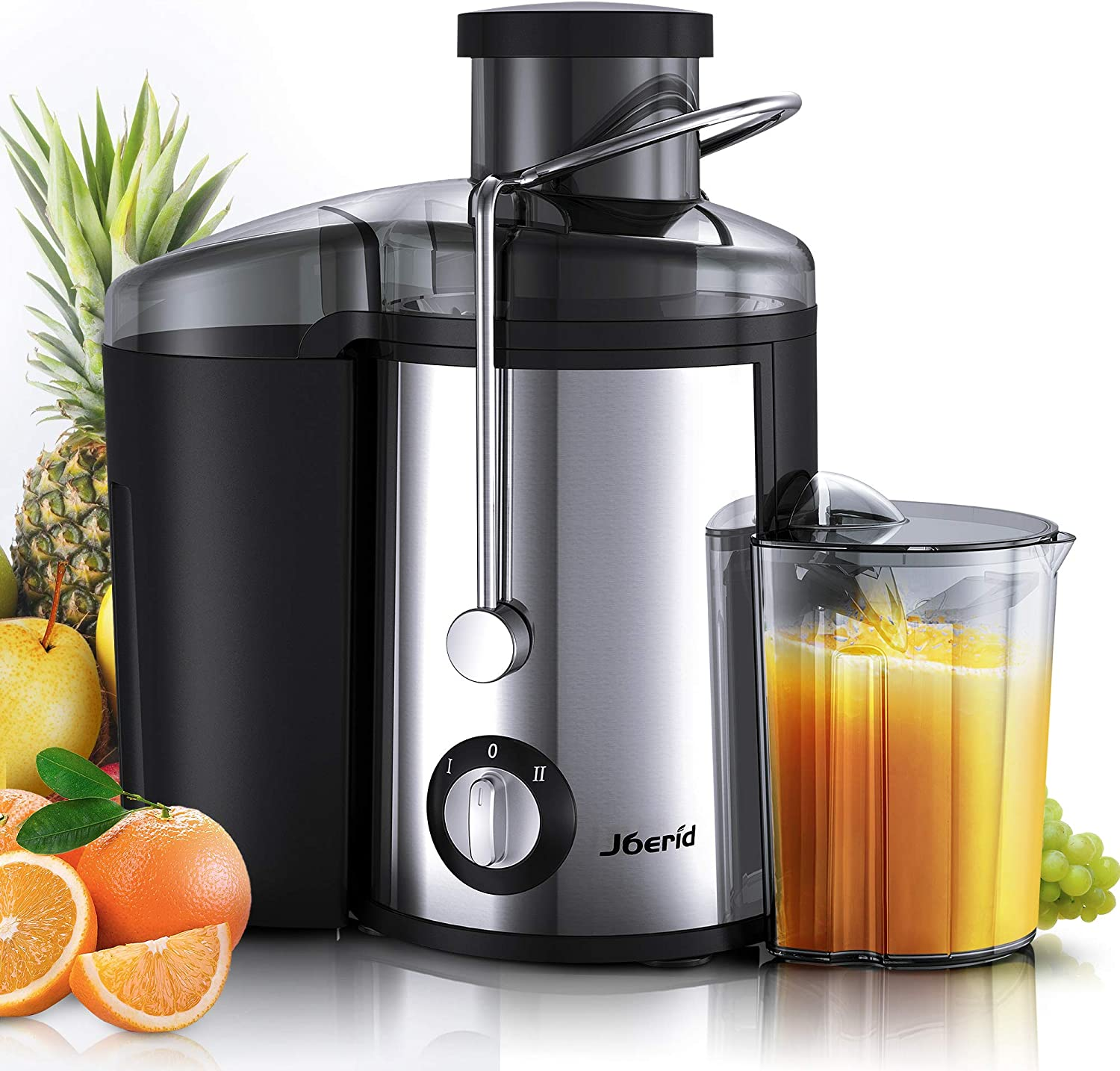 Joerid Juicer, 2019 Upgrade Centrifugal Juicer Machine, Juice Extractor with Spout Adjustable, Lighter Powerful, Easy to Clean BPA-Free, Dishwasher Safe, Included Brush Black
