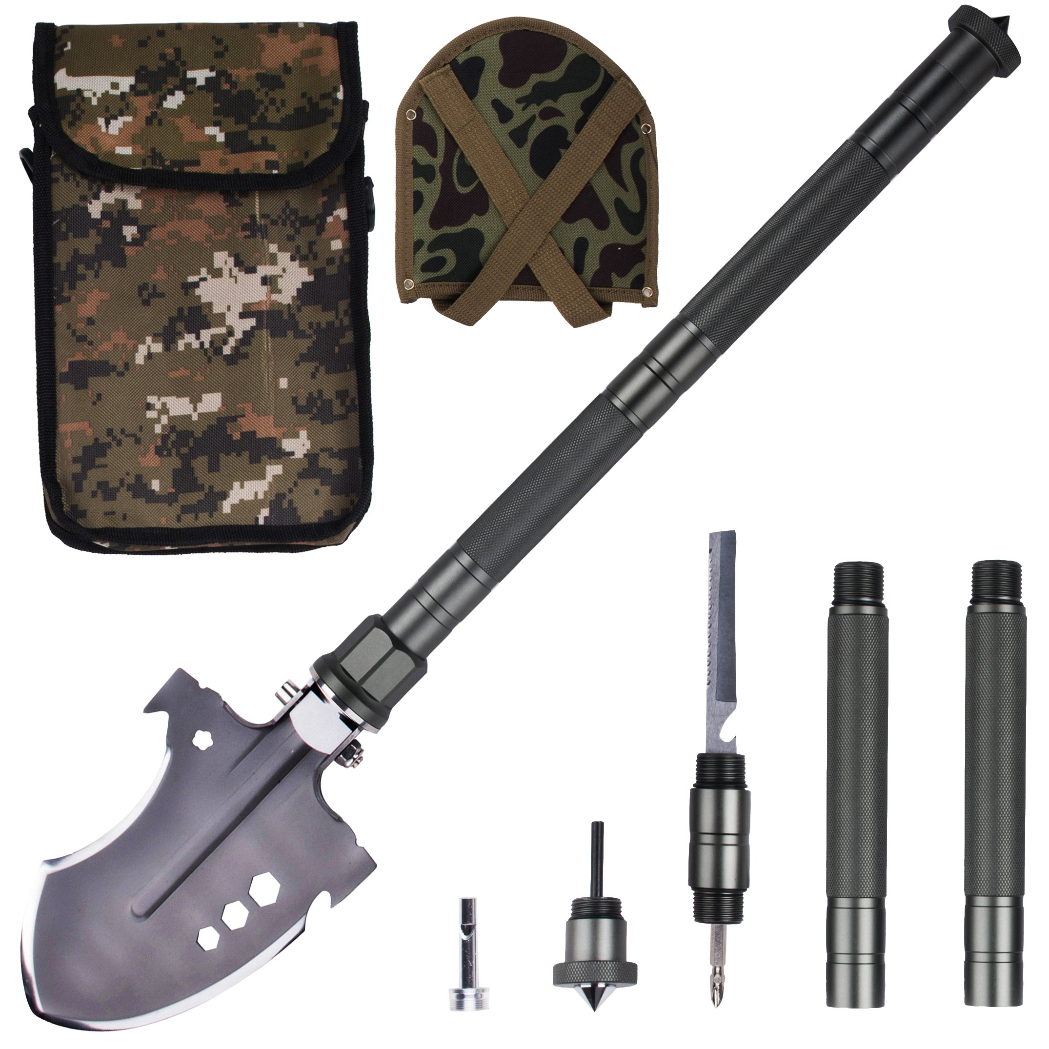GLOSSDAY Military Folding Shovel Multi-Tool,Portable Survival Shovels,Tactical Entrenching Tool,Heavy Duty Emergency Tool, Outdoor Gear for Camping Backpacking,Fishing,Hiking(40inch)