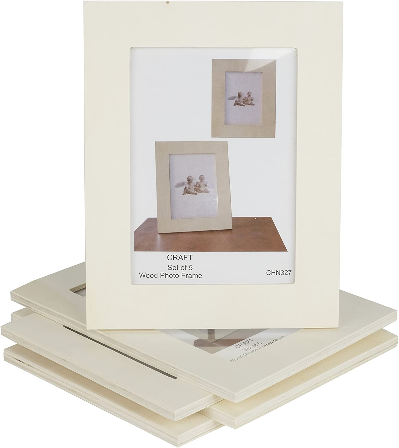 Wallniture Craft Picture Frames 4x6 Unfinished Wood for Kids Arts and Crafts for Adults Projects Set of 5