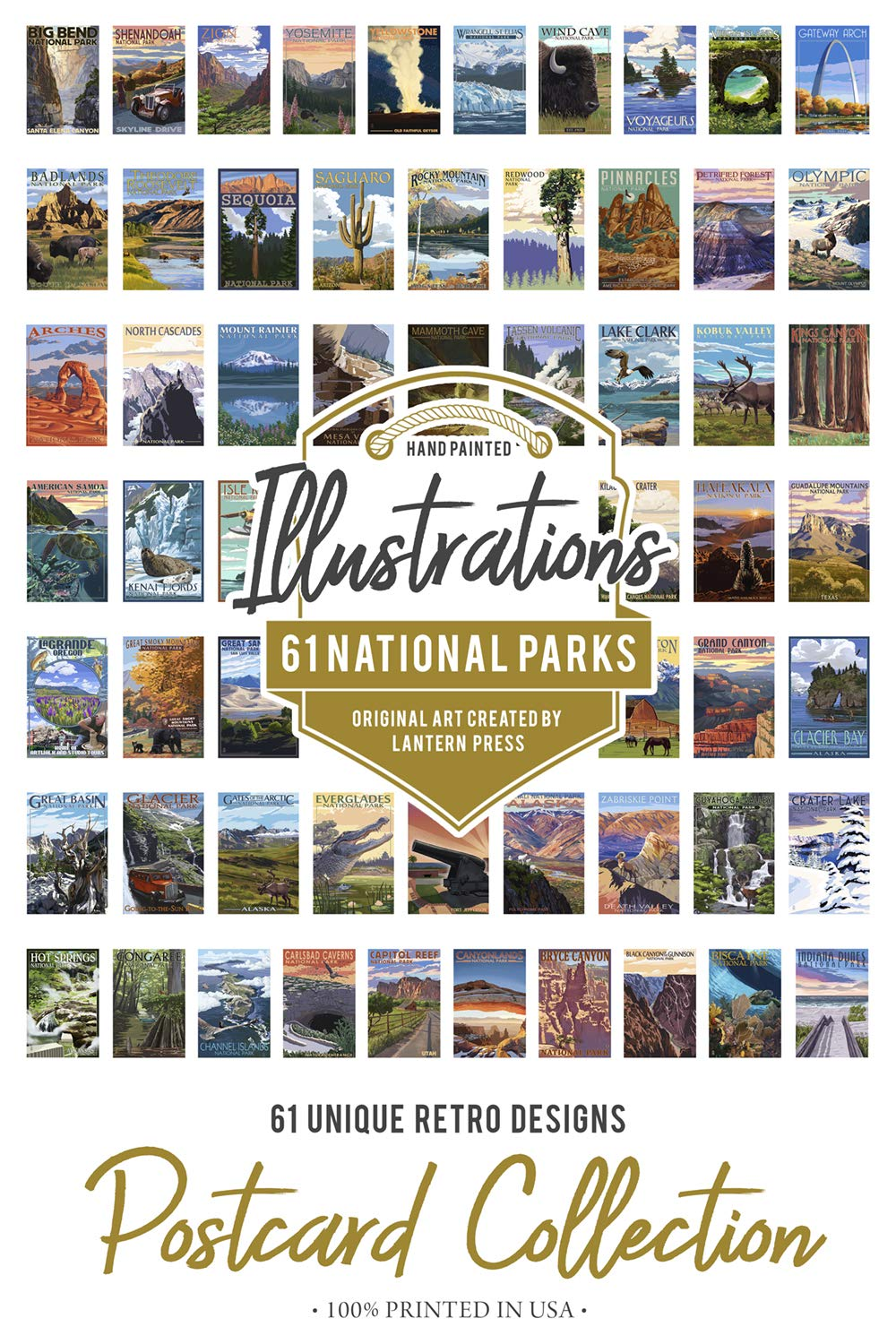 61 National Parks - Postcard Set of 61 Different Original Hand Illustrated Postcards by Lantern Press by Lantern Press