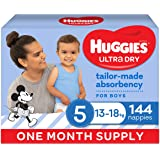 Huggies Ultra Dry Nappies, Boys, Size 5 Walker (13-18kg), 144 Count, One Month Supply, (Packaging May Vary)