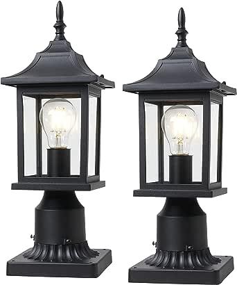 Outdoor Porch Light Lantern Pillar- 2 Pack Post Light, Matt Black Pillar Lamp Fixtures with Clean and Bright Glass for Patio Porch Garden Decor