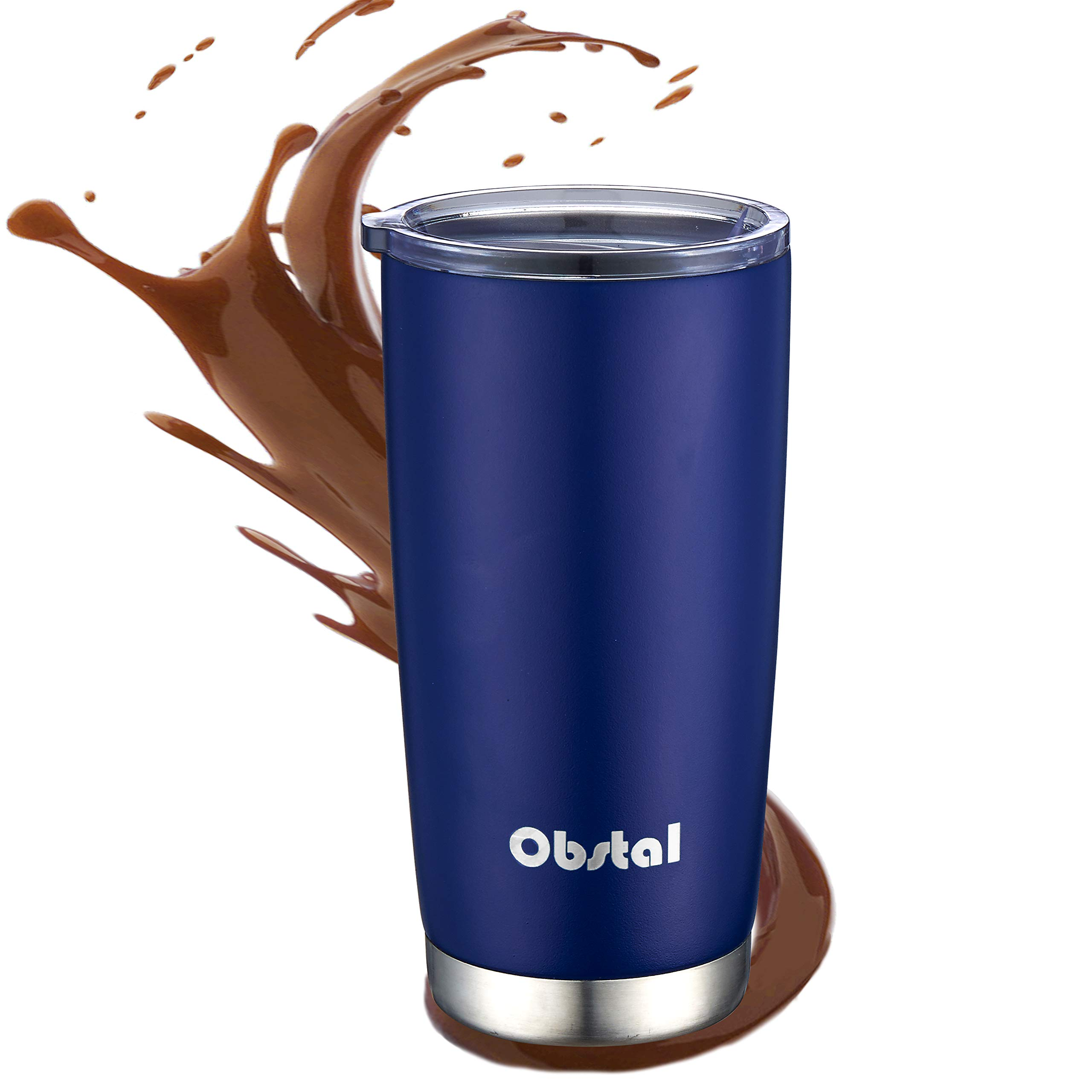 Obstal 20oz Insulated Coffee Tumbler Stainless Steel Double Wall Vacuum with Stainless Straw, 2 Clear Lids & Cleaning Brush for Office, Navy
