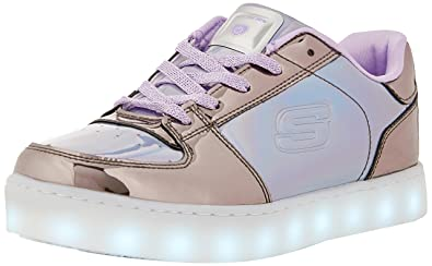 Skechers Kids Womens Energy 10947L Lights (Little Kid/Big Kid) Gunmetal/Purple