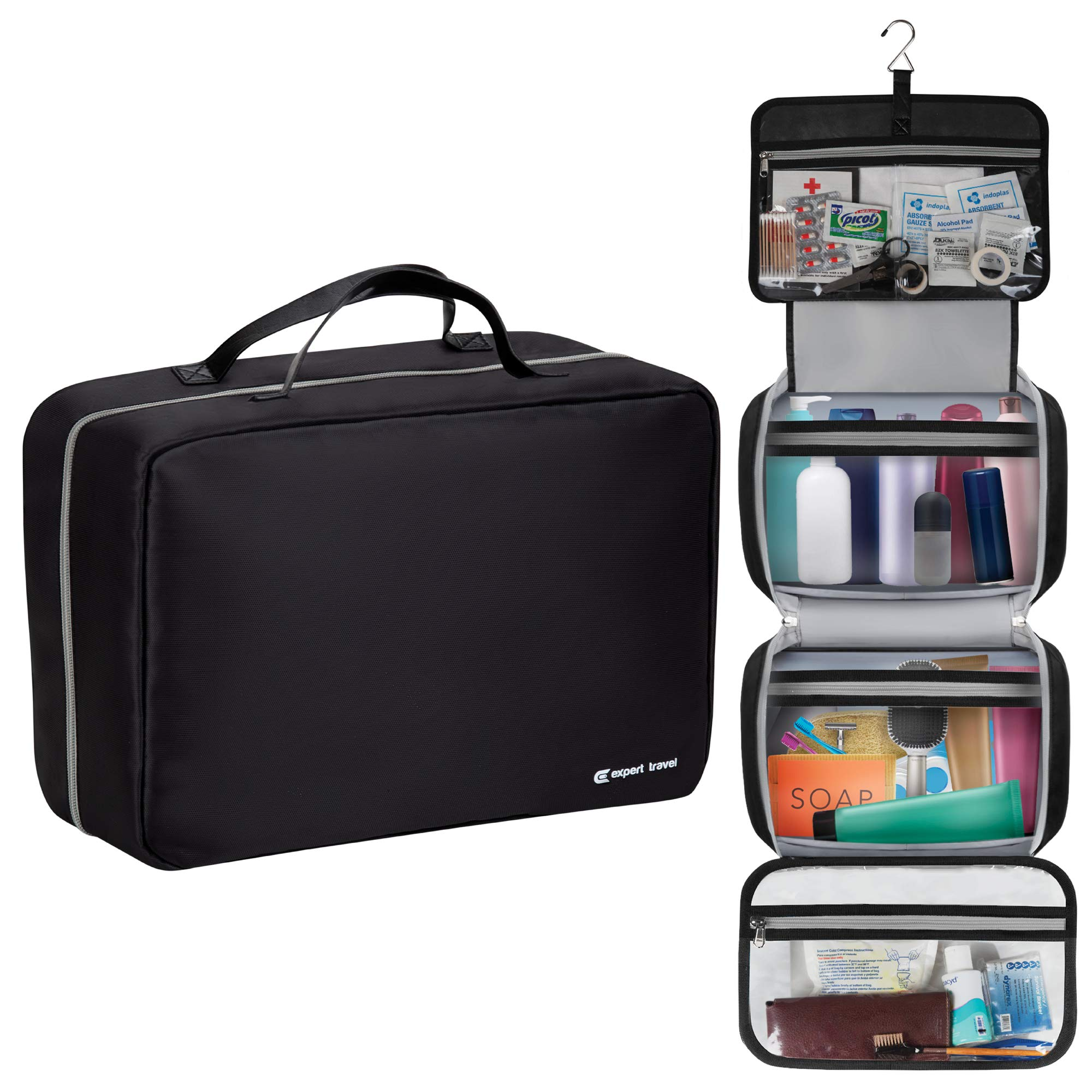 The Biggest F'n Toiletry Bag On Amazon (42''x14'')   For Men and Women   Leak Proof   Clear Pockets   Detachable Compartment   Makeup Bag   Cosmetic Bag   Black by Expert Travel