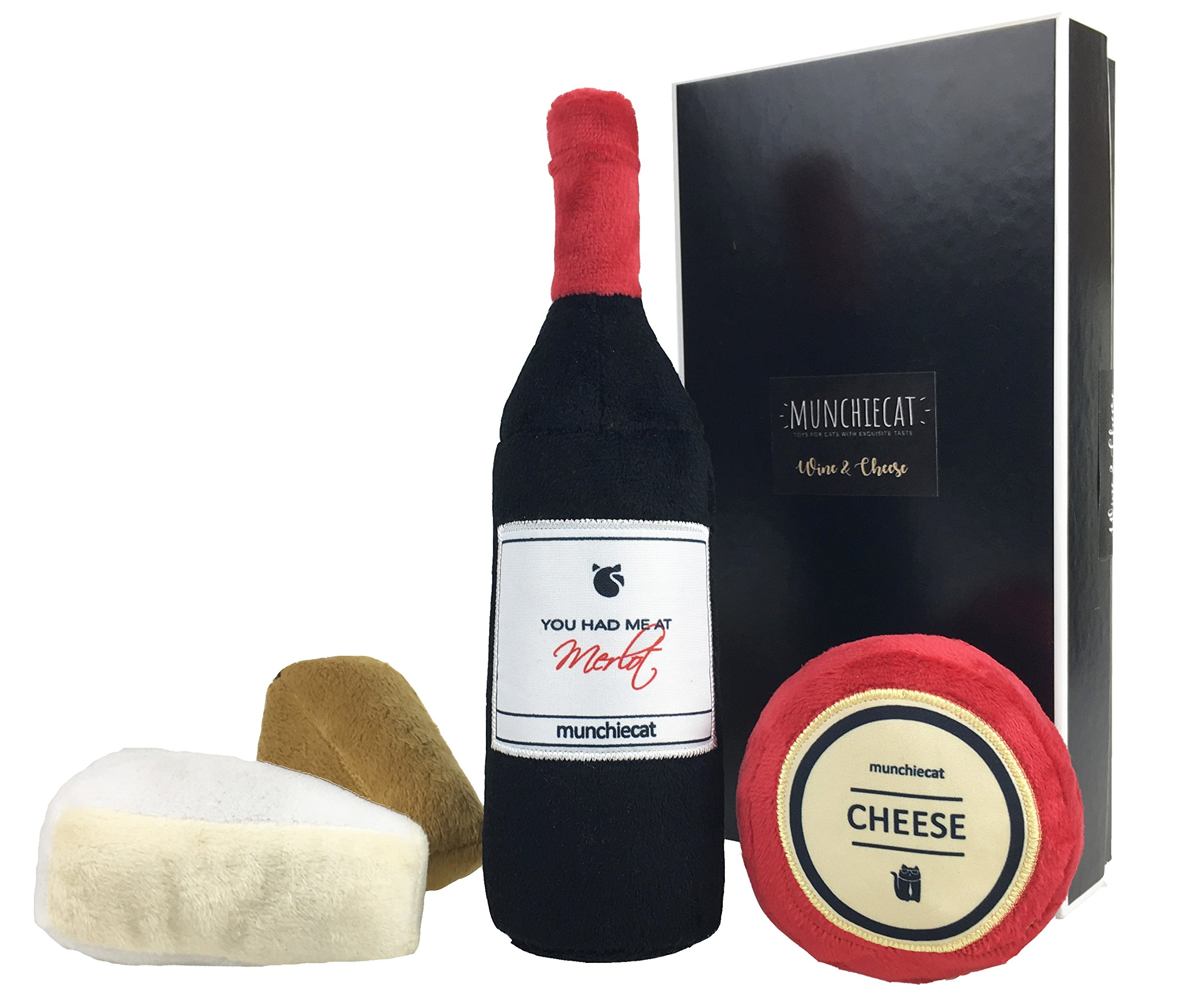 munchiecat Wine and Cheese Toys for Cats | 8'' Bottle Catnip Kicker, Cheese, Figs, Olives | Crinkle Paper Rattle Bell | Unique Gift for Cat, Wine Lovers, Housewarming Gift (4-Pc Gift Set)