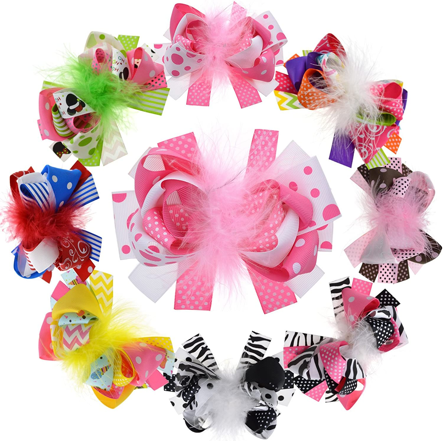4 Inch Adorable Unicorn Stacked Hair Bow With Clip Grosgrain Ribbon