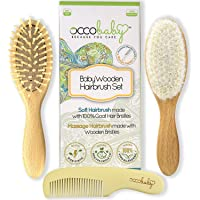 OCCObaby 3-Piece Wooden Baby Hair Brush and Comb Set for Newborns and Toddlers | Natural Soft Goat Bristles for Cradle…