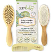OCCObaby 3-Piece Wooden Baby Hair Brush and Comb Set for Newborns and Toddlers | Natural Soft Goat Bristles for Cradle Cap | Wood Bristles Baby Brush for Massage | Perfect for Baby Registry
