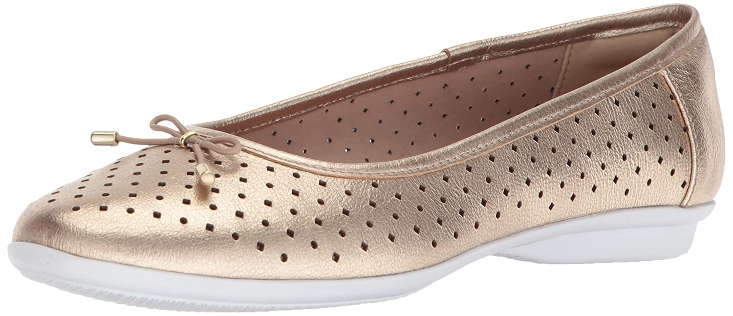 CLARKS Women's Gracelin Lea Ballet Flat B0749N6TQN 5 B(M) US|Gold/Metallic Leather