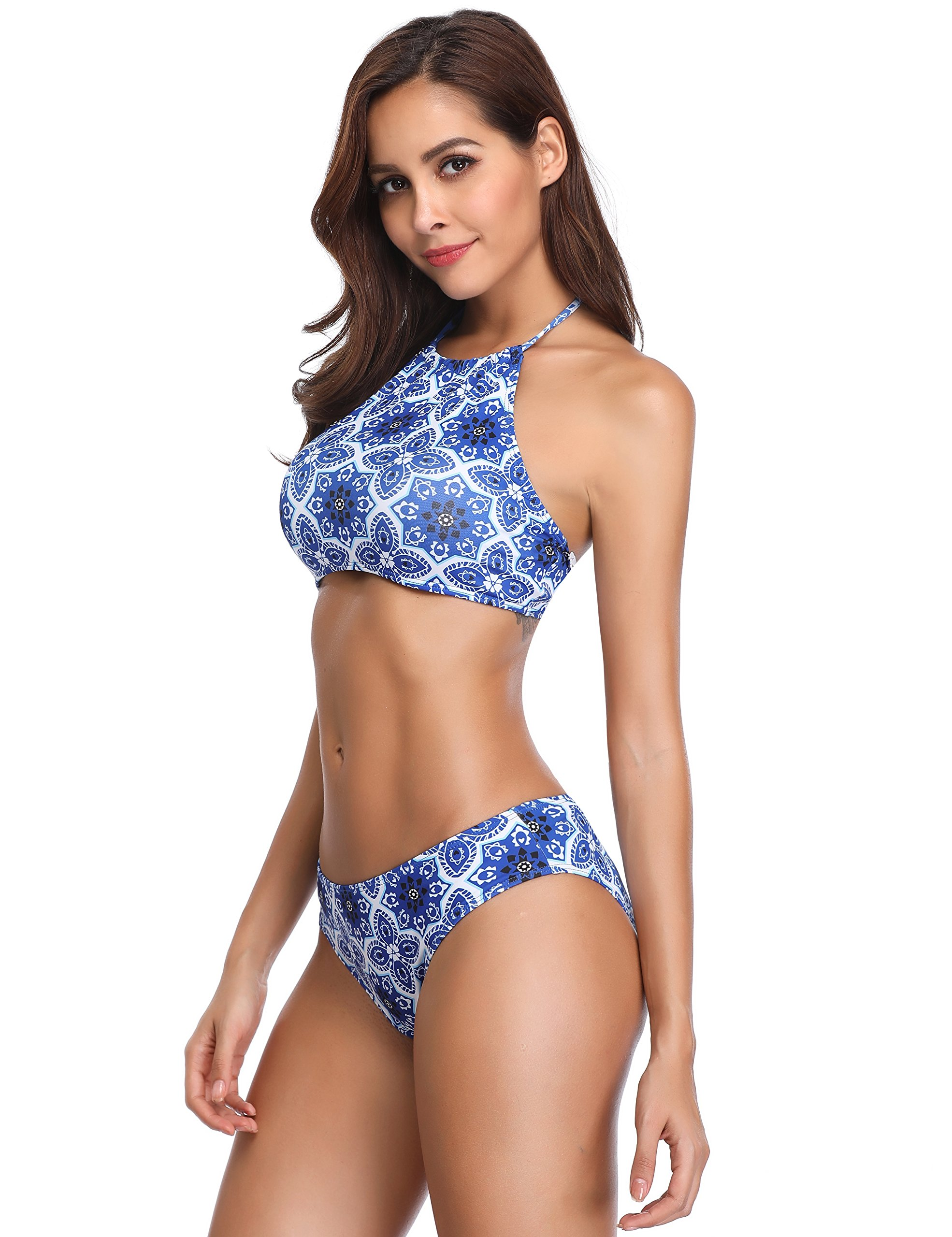 7c9d51cb2d 90% discount on MarinaVida Women Halter Two Pieces Swimsuit Floral ...