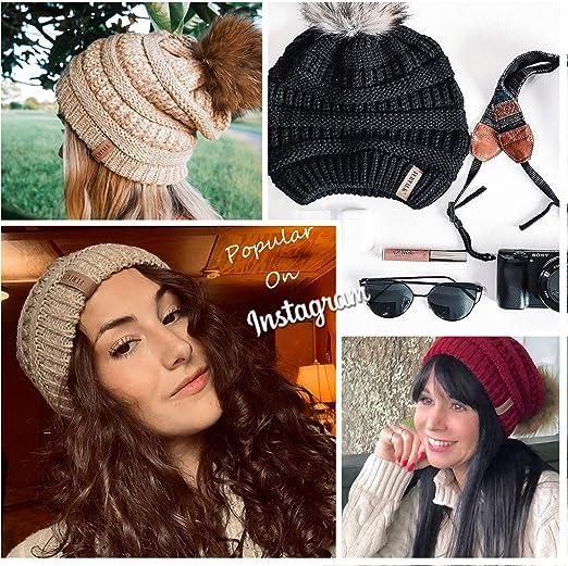 Women's Winter Knit Slouchy Beanie Hat Warm Skull Ski Cap