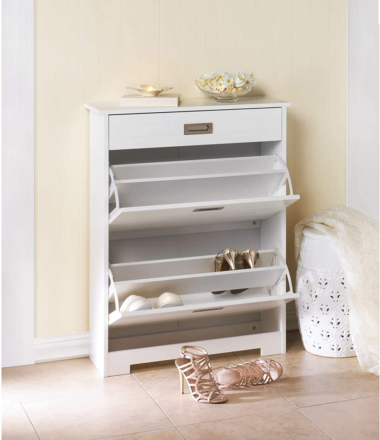 Toponeware Modern Style Shoe//Storage Cabinet with 2 Drawers in White