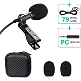 Lavalier Lapel Microphone, Professional Omnidirectional Condenser Mic for Recording Youtube, Interview, Video, Live, Vlogging, Audio, Webinars, Podcast, Dictation, Noise Cancelling Mic (Black)