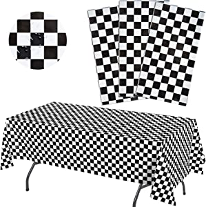 """Anapoliz Black Checkered Tablecloth Plastic 