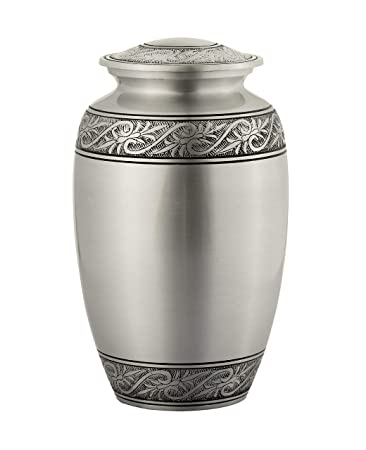 Enshrined Memorials Cremation Urn for Ashes – Electra Series Affordable Solid Metal Quality Handcrafted for Human Funeral Burial Large 10 inch, Silver with Leaves Classic