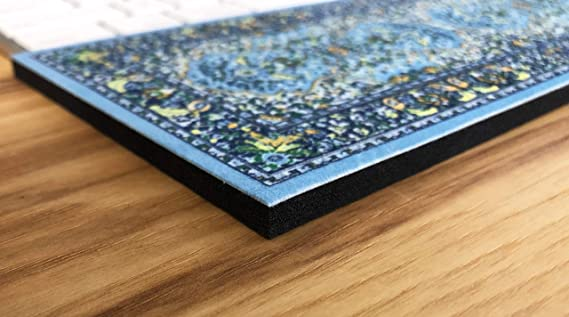 Rectangular Arm and Hand Typing Support Blue Thin Computer Keyboard Wrist Rest Wrist Pad with Oriental Carpet Design