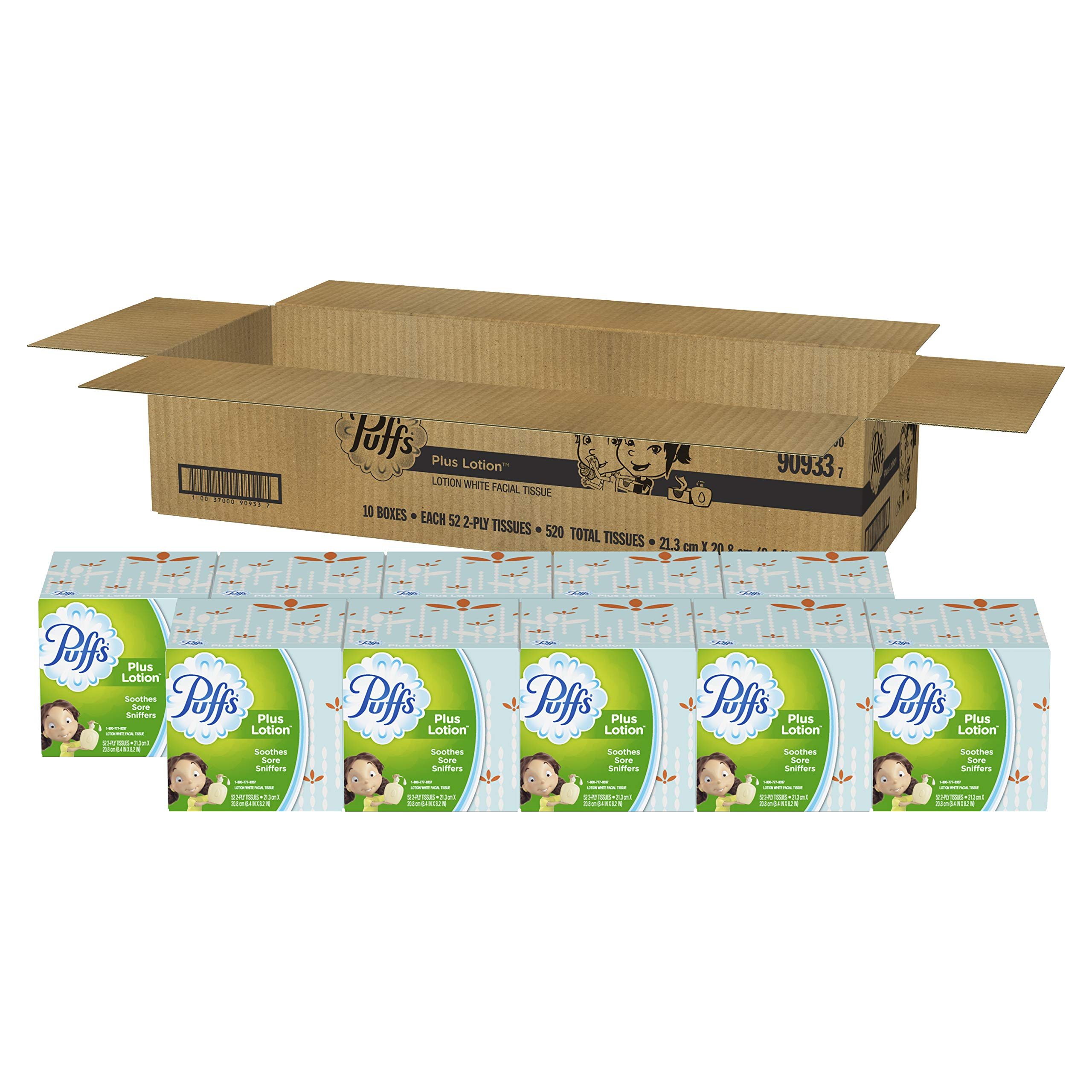 Puffs Plus Lotion Facial Tissues, 10 Cubes, 52 Tissues per Cube by Puffs (Image #2)