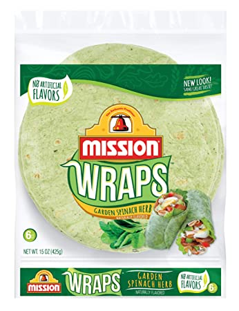 Mission, 10 Inch Wraps Garden Spinach Herb, 6 ct, 15 oz: Amazon.com ...