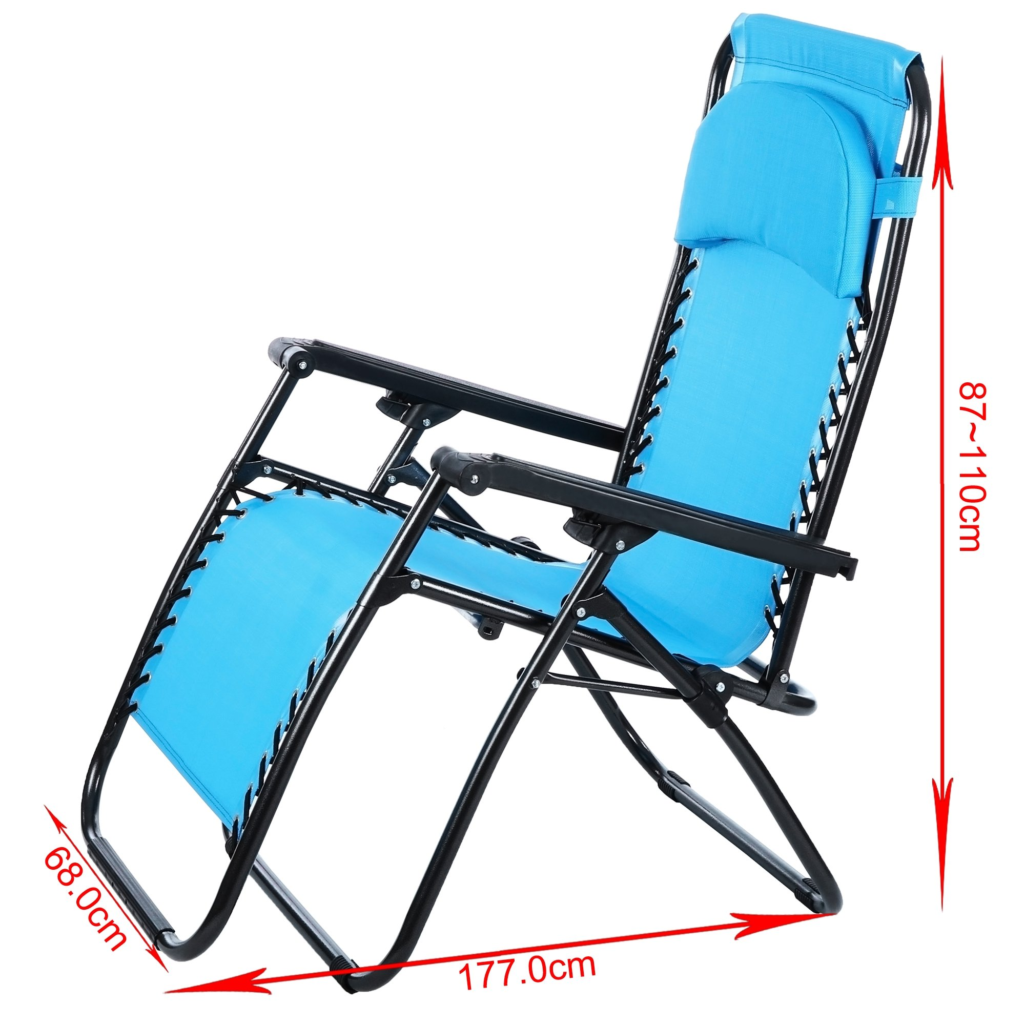 Zero Gravity Lounge Chair Camping Furniture, Lawn Reclining Patio Chair with Lightweight Steel Frame & Adjustable Padded Pillow & Dual Finger Tip Locking System [ US STOCK ] (Blue) by Ferty