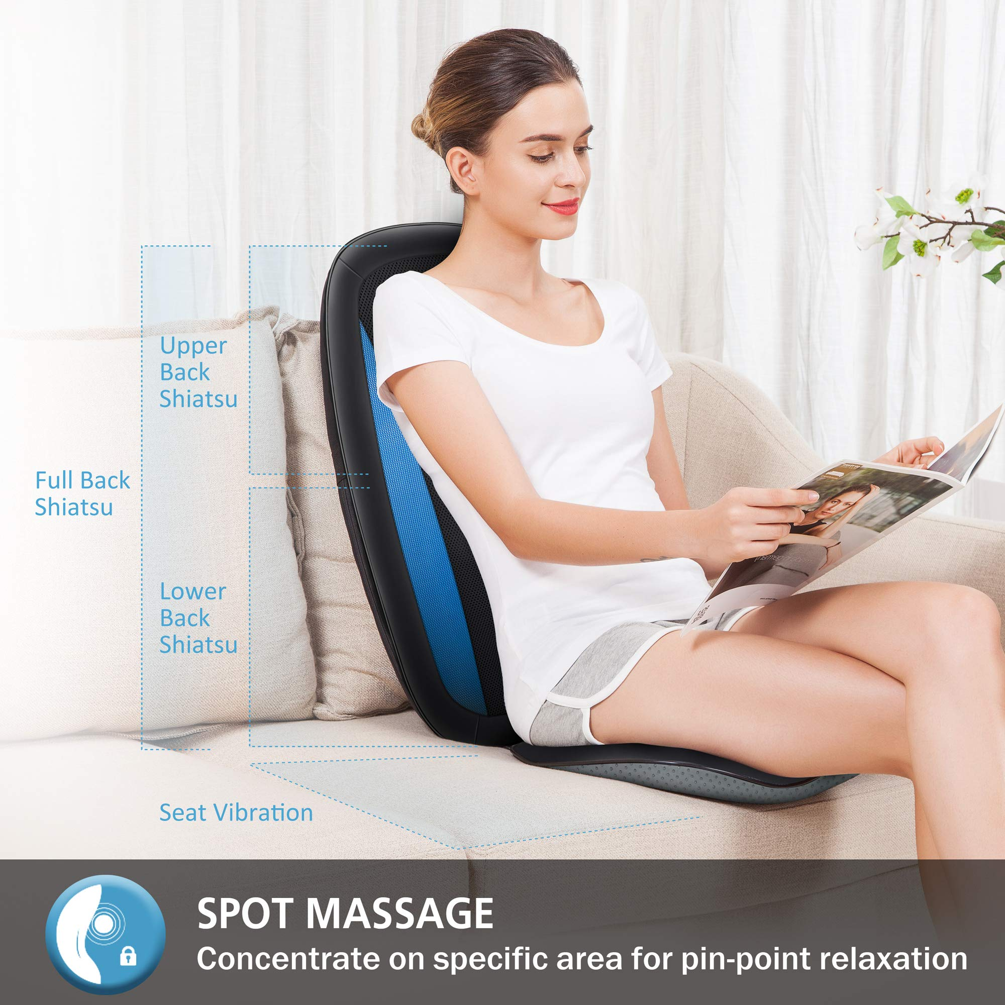 Comfier Shiatsu Back Massager with Heat -Deep Tissue Kneading Massage Seat Cushion, Massage Chair Pad for Full Back Pain Relief, Electric Body Massager for Home or Office Chair use by COMFIER (Image #3)