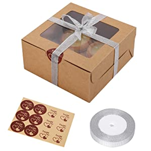 25 Packs Kraft Paper Cupcake Boxes with Display Window and Inserts Hold 4 Standard Cupcakes, 6.3 x 6.3 x 3 Inch Kraft Bakery Boxes for Party Favor Muffins, Small Cakes