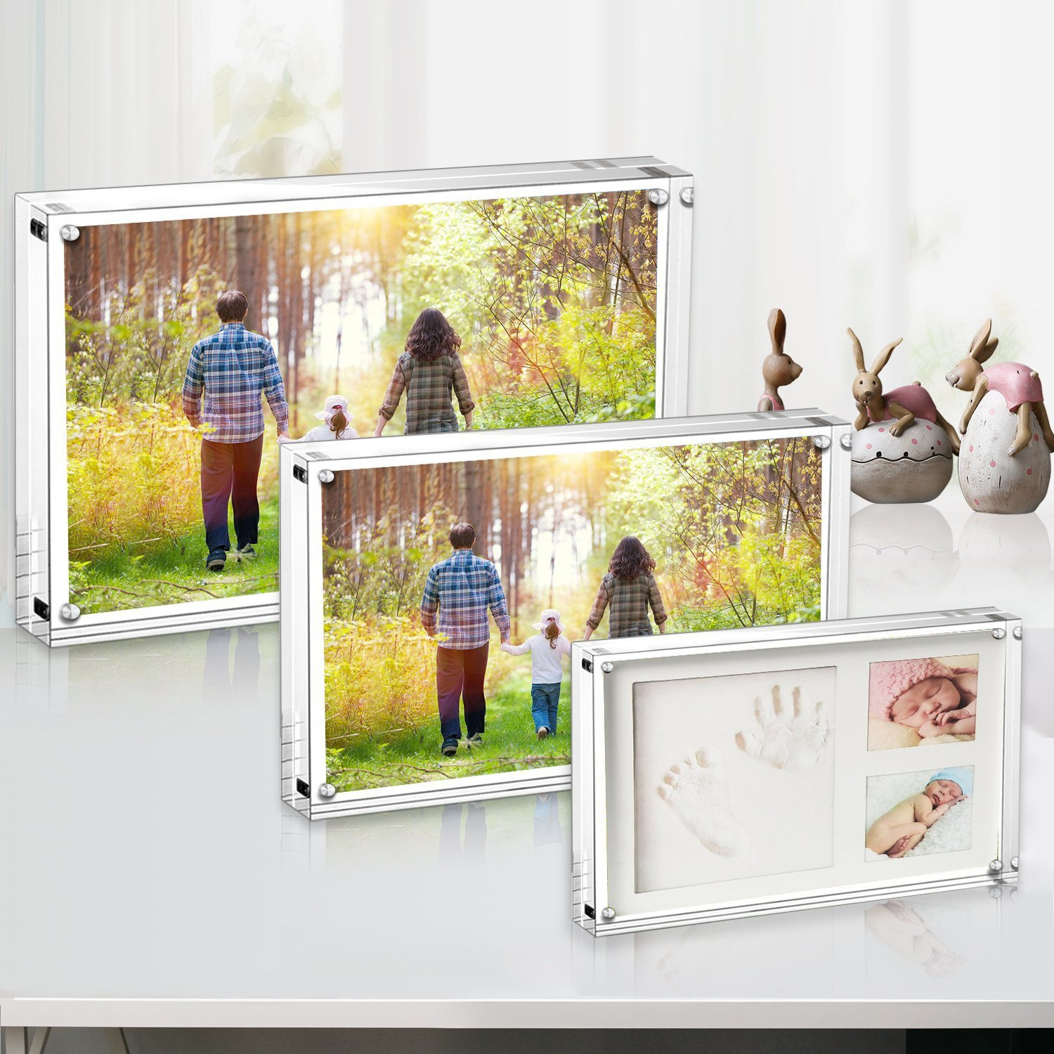 Boxalls Acrylic Photo Frame, 3.5 X 5 Inches Pictures, Magnetic Picture Frame,Transparent Acrylic, Desktop Display 10mm+10mm Thickness (2 Pack 5\'\')