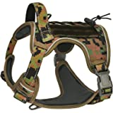 CBBPET Dog Tactical Harness for Large Medium Dogs No Pull, Tactical Dog Vest with Molle & Sturdy Handle, Front Leash Clip, Br