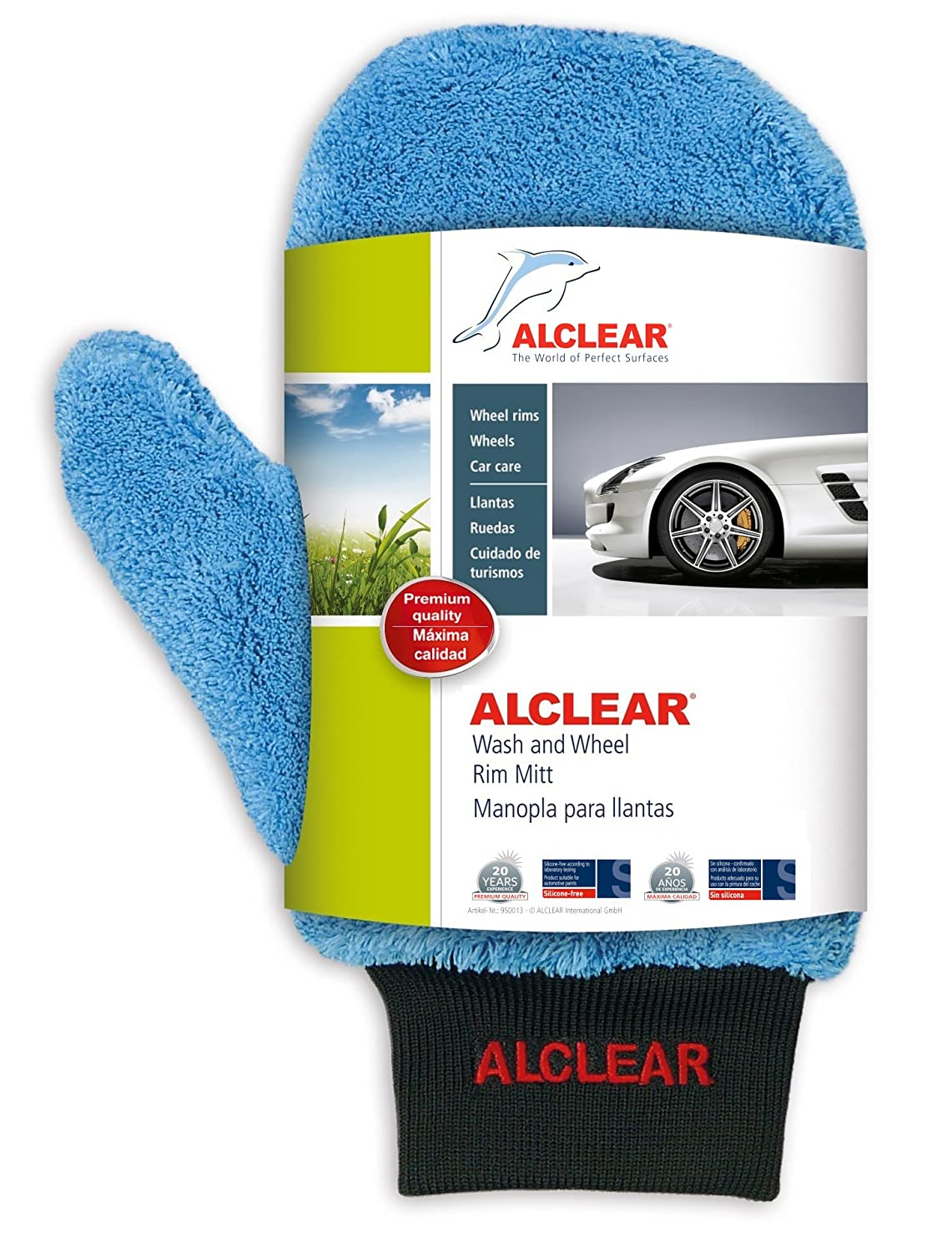Amazon.com: ALCLEAR 950013 Ultra-Microfiber professional scratch free Wheel Rim Mitt, blue with black cuff. Size approx. 10.24 x 4.72 in.: Automotive