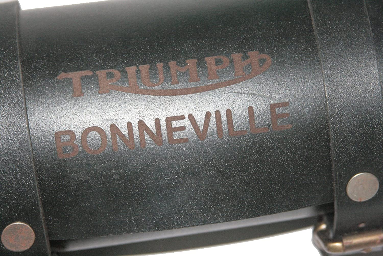 Enfield County vintage vera pelle nera in Tool bag roll Triumph Bonneville logo Engravin