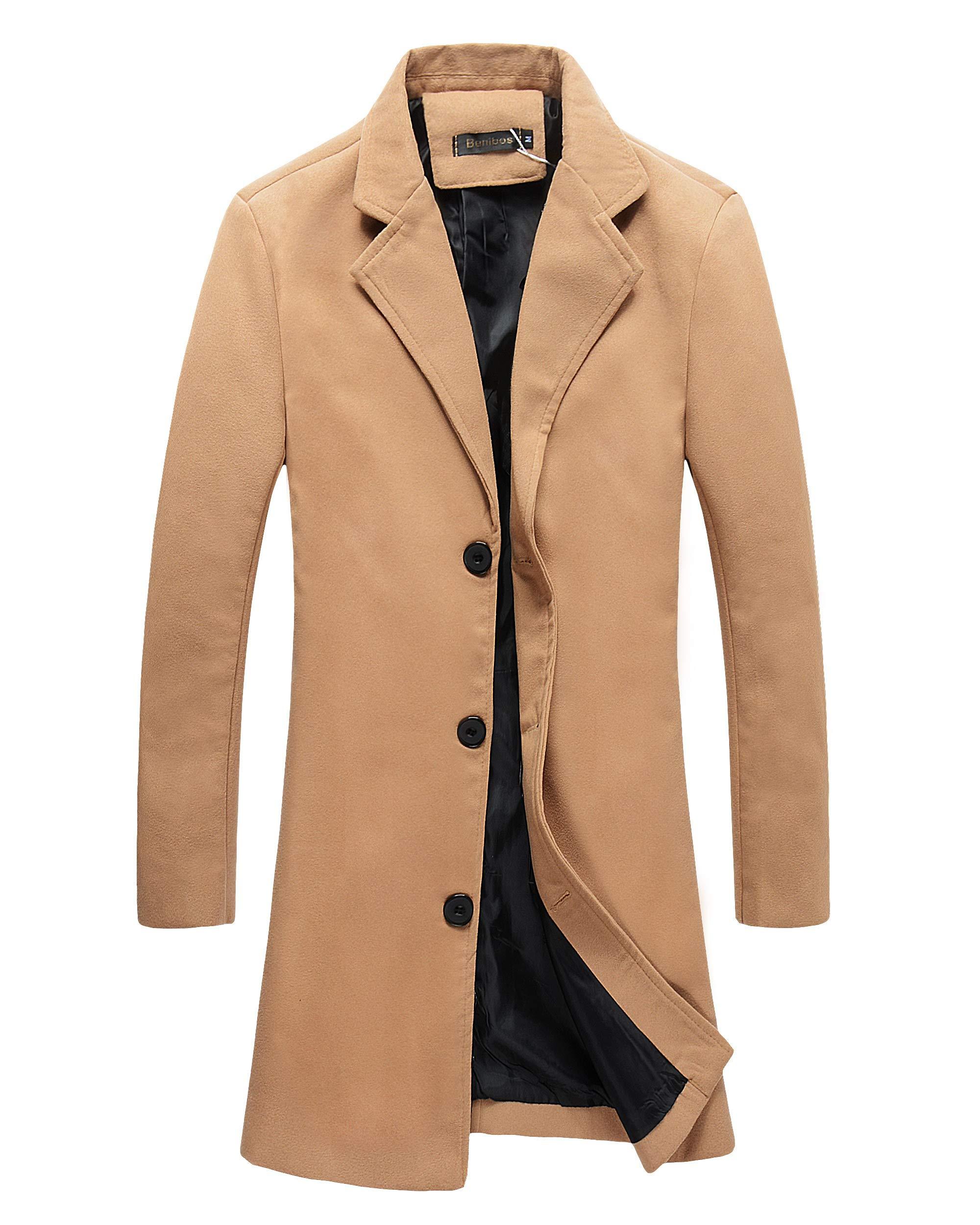 Beninos Mens Trench Coat Slim Fit Notched Collar Overcoat (L, F20 Camel) by Beninos