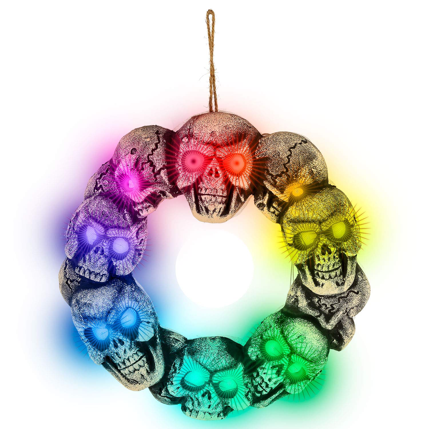 Halloween Haunters Skull Door Wreath with Flashing Multi-Color LED Lights Prop Decoration - Spooky Light-Up Skeleton Head Haunted House Entryway