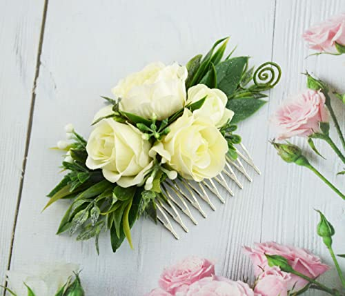 Floral hair comb for bridesmaid Ivory green hair piece Wedding flowers barrette Bridal roses headpiece Ivory flower comb