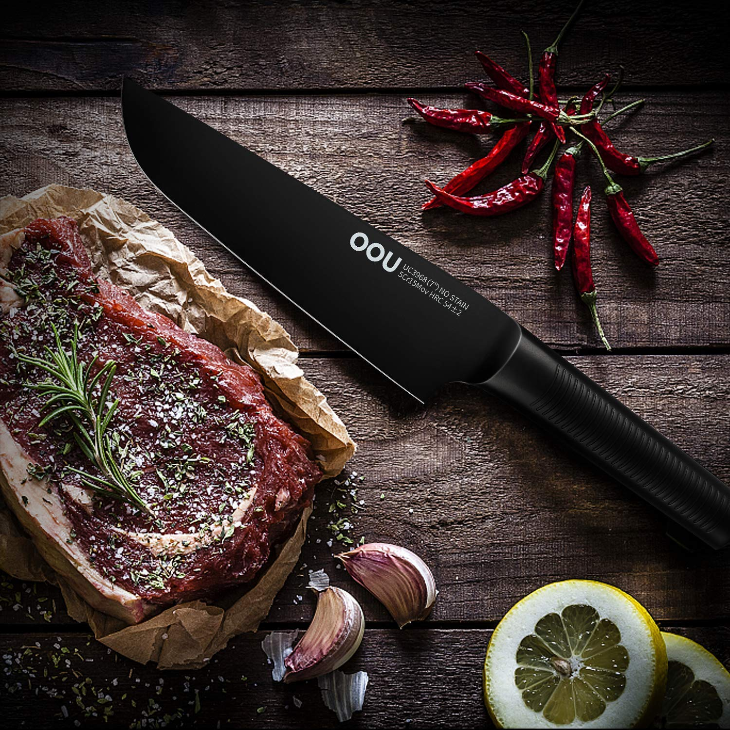 Chef Knife, OOU 7 inch Pro Kitchen Knife, High Carbon Stainless Steel Chef's Knives, Ultra Sharp Edge Cooking Knife, Advanced BO Oxidation Design, Great for Home Kitchen and Restaurant, FDA Certified by OOU! (Image #6)