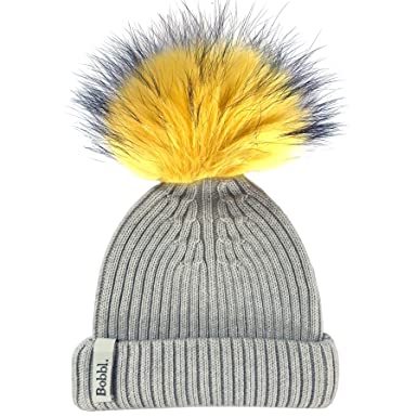 79d66fe0f6f Image Unavailable. Image not available for. Colour  BOBBL Light Grey  Classic Hat   Yellow Big Pom Pom