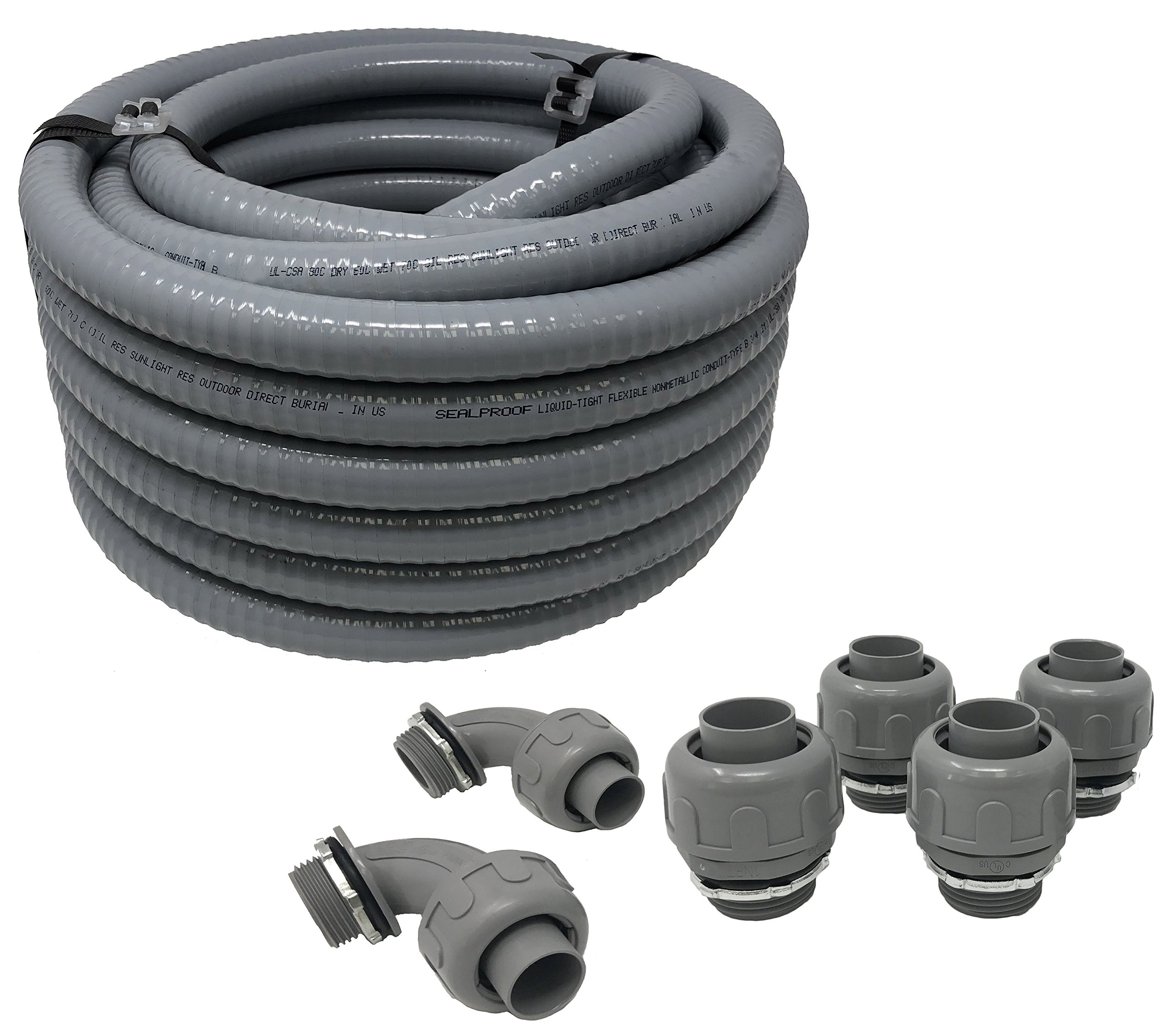 Sealproof Non-metallic Liquid-Tight Conduit and Connector Kit, 1-Inch 25 Foot Flexible Electrical Conduit Type B with 4 Straight and 2 90-Degree Conduit Connector Fittings, 1'' Dia