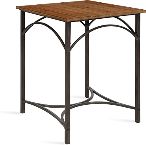Kate and Laurel Strand Industrial Modern Side Accent Table, Rustic Wood Top with Iron Legs