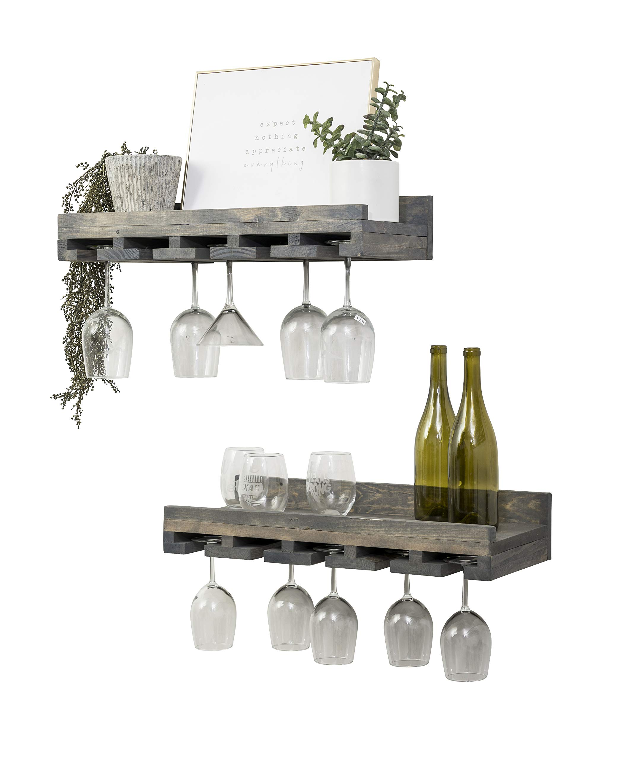 Rustic Wooden Wall Mounted Handmade Tiered Wine Glass Racks (Grey, 24 Inch)
