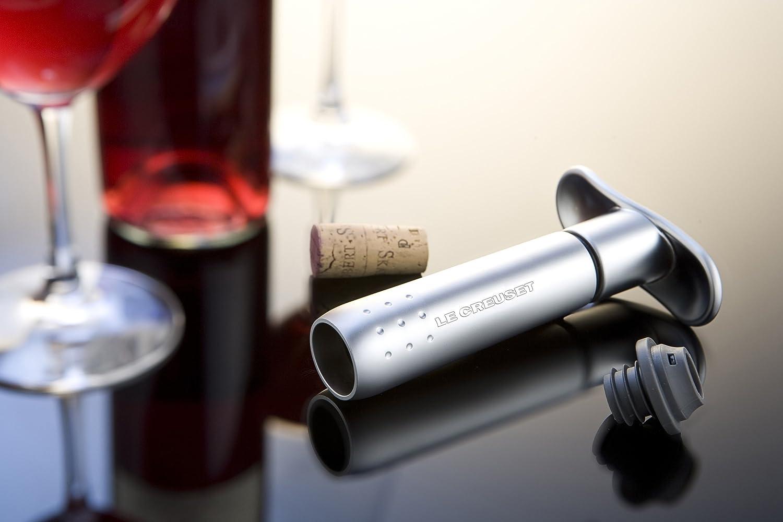 Le Creuset Weinpumpe mit 3 Weinverschl/üssen WA-137S metal