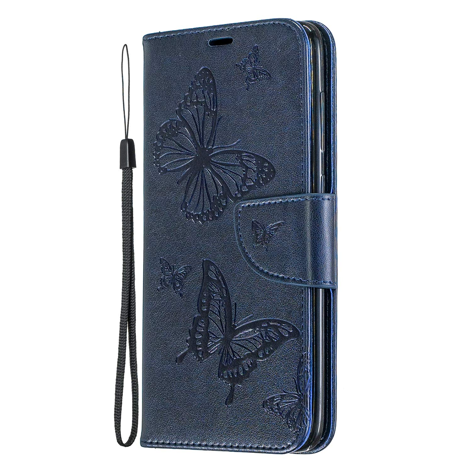 Leather Wallet Case for Samsung Galaxy A70 with Wrist Strap,QFFUN Elegant Embossed Butterfly Pattern Premium PU Holster Magnetic Closure Stand Phone Case with Card Holder Full Body Protective Flip Cover Bumper with Screen Protector Blue