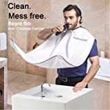 Markkeer Beard Bib Apron for Men Shaving,Hair Clippings Catcher & Grooming Cape Apron Trimming Non-Stick Hair,Waterproof,Anti-static,Adjustable Zipper,Grooming with Mirror Suction Cups Keep Sink Clean