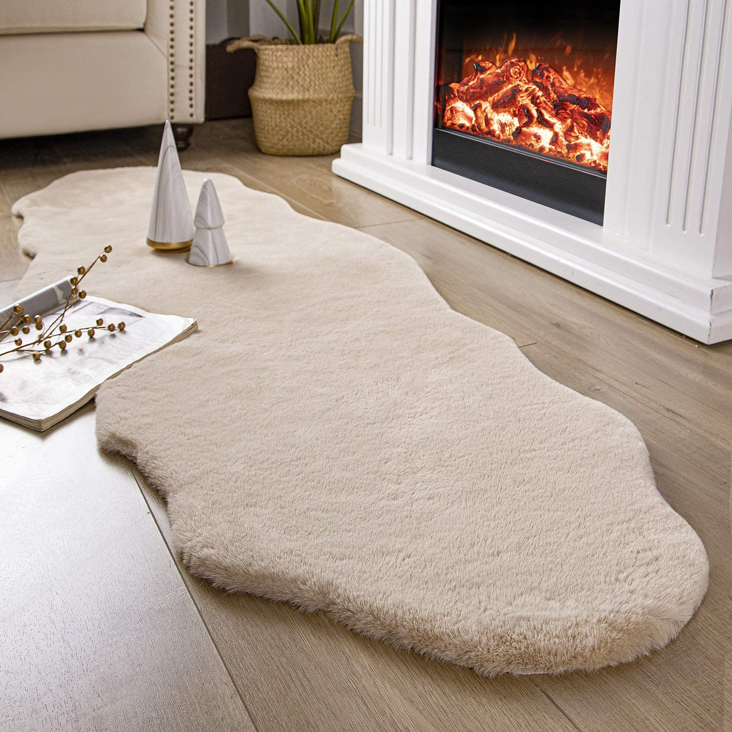 Ashler Ultra Soft Faux Rabbit Fur Chair Couch Cover Area Rug for Bedroom Floor Sofa Living Room Beige 2 x 6 Feet