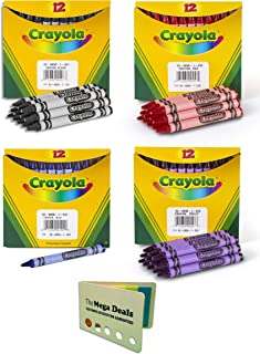 """product image for Crayola Non-Toxic Standard Single Color Crayon Refill Pack, Black, Red, Blue, and Violet (12 Pack, Total of 48 Crayons), 5/16"""" x 3-5/8"""" 
