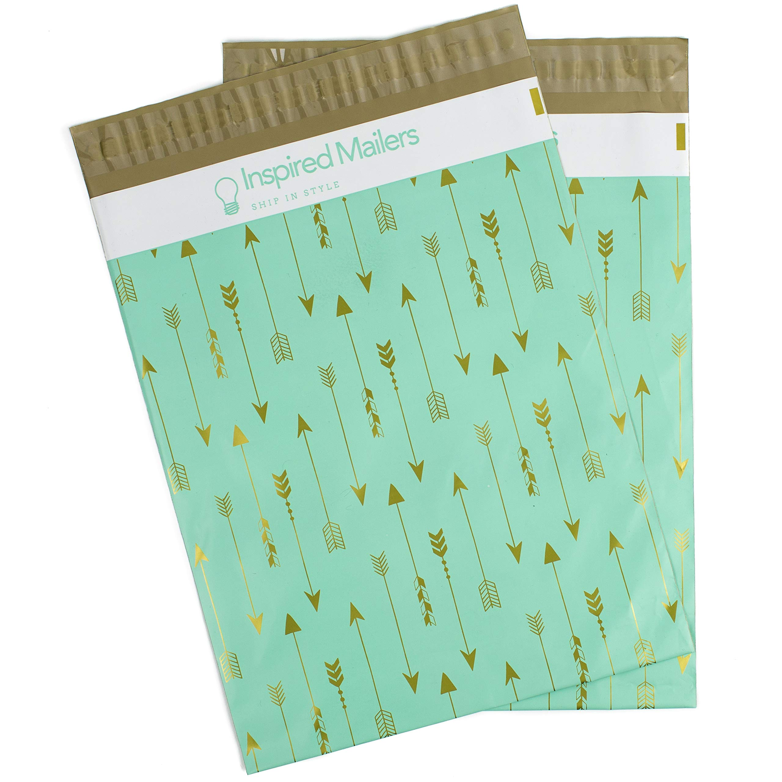 Inspired Mailers Poly Mailers 14.5x19 Tribal Arrows – Pack of 50 – Unpadded Shipping Bags (Seafoam/Gold)