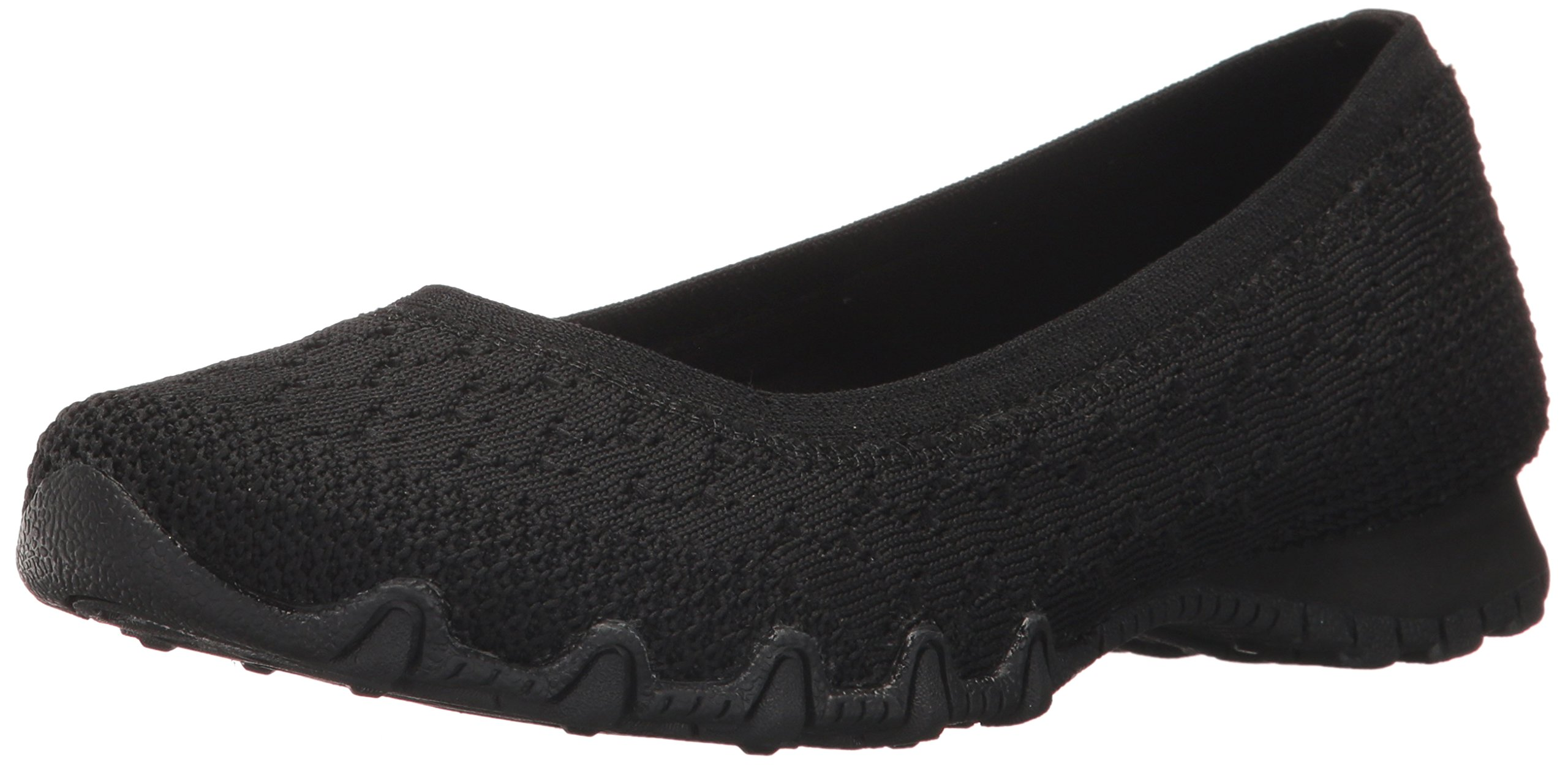 Skechers Women's Bikers-Witty Knit Ballet Flat, black, 10 Extra Wide US by Skechers (Image #1)