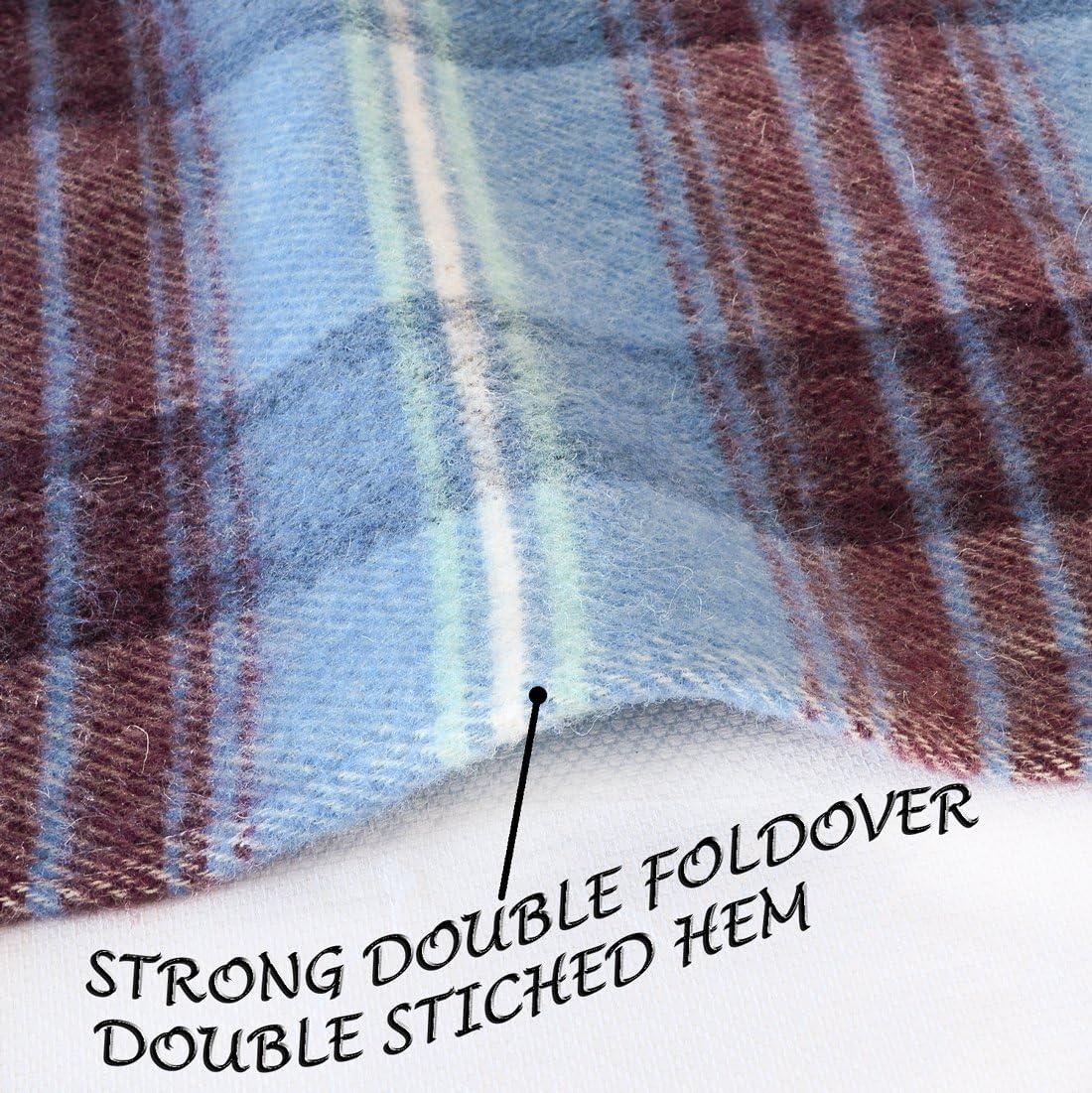 Full//Queen Size, Blue Stripe Machine Washable Poyet Motte Chevreuse Heavyweight Wool Blend Oversized Blanket